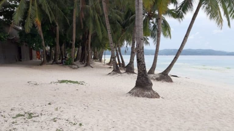 Deserted White Beach on Boracay just before it went into lockdown for Holy Week 2021.