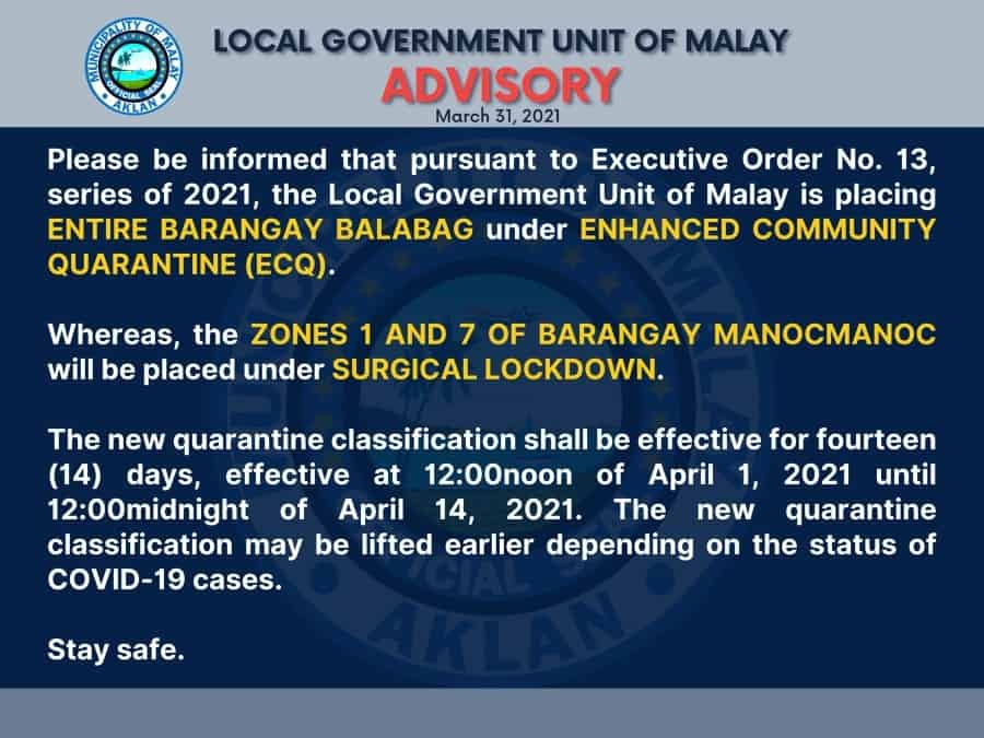 Official announcement from LGU Malay about parts of Boracay locked down for Holy Week, until April 14.