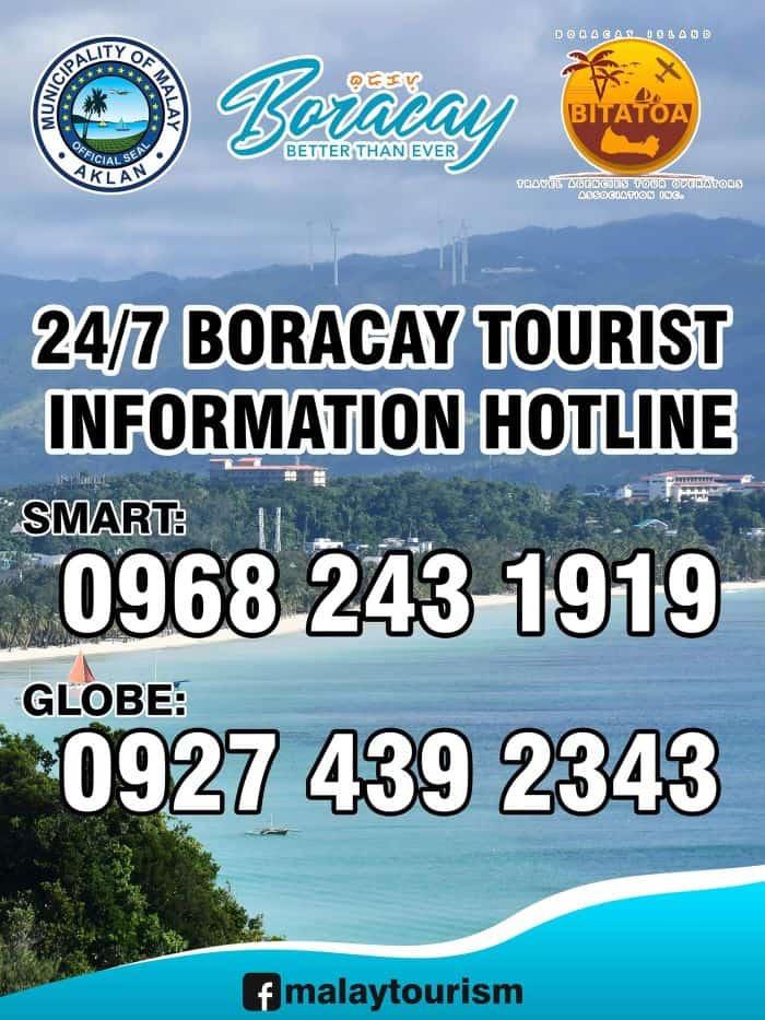 Boracay information hotline numbers: Smart: 0968 243 1919 Globe: 0927 439 2343