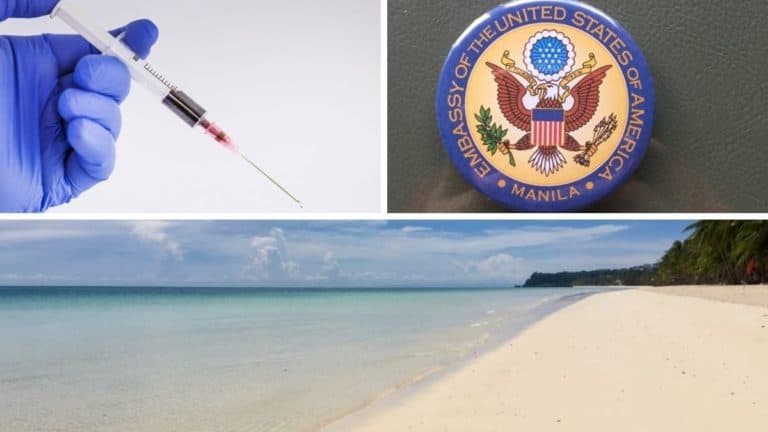 A gloved hand with a syringe, an American embassy bottle opener, and a beautiful white sand beach on Boracay Island in the Philippines.