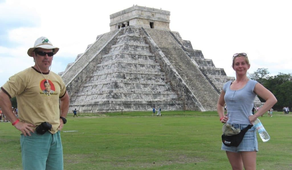 Theo and Ellen at Chichen Itza on one Mexico trip in the mid-2000s.