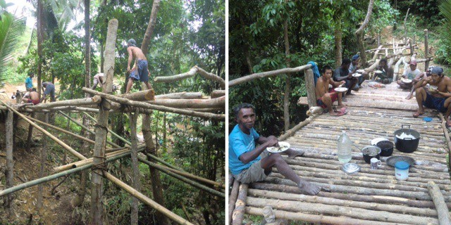 Left, Ati workers construct bridge; right, Ati chief and workers take a lunch break.