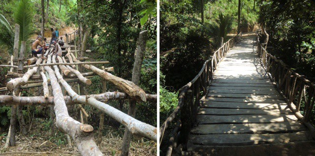 Left, Ati workers construct bridge; right, the finished bridge in mainland Malay, Philippines.