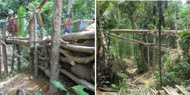 Left, Ati workers on the bridge; right, view of bridge from the side shows it's high elevation.