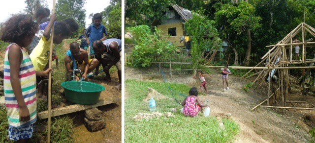 Left, Ati gather around new water spigot; right, children fill jugs and dance with joy.