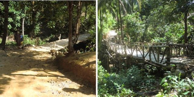 Left, dirt path leading to Ati bridge; right, the rails placed on the new bridge.