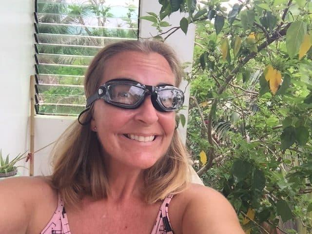 Ellen wears new prescription-strength swim googles from Shoppee.