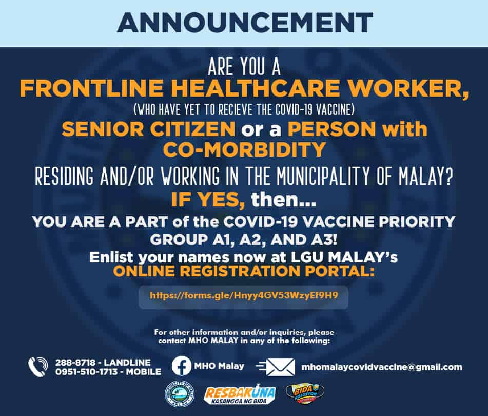 """Notice that reads, """"Announcement! Are you a frontline healthcare worker, senior citizen or a person with co-morbidity?..... If YES, then you are part of the COVID-19 vaccine priority group.... Online registration portal (web address)."""
