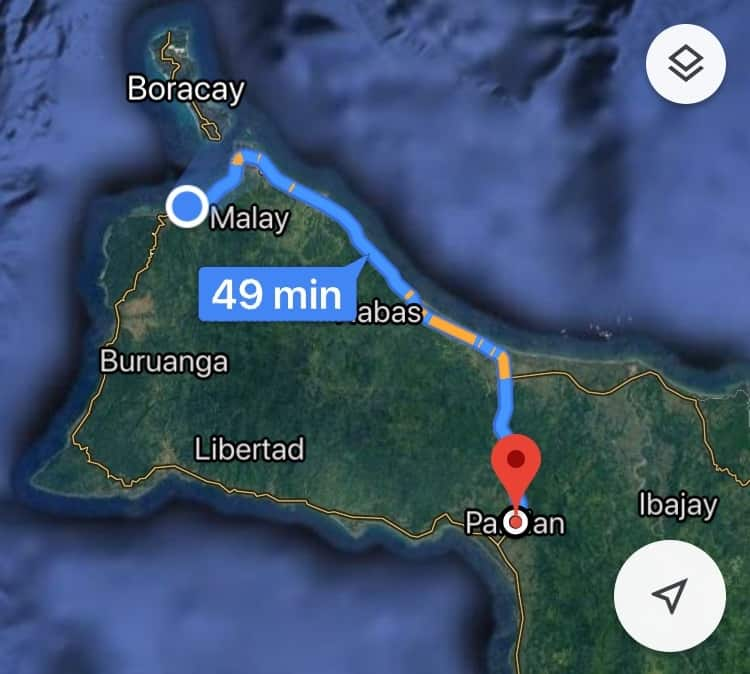 Map shows Malay to Pandan would take 49 minutes by car to go around a mountain range.