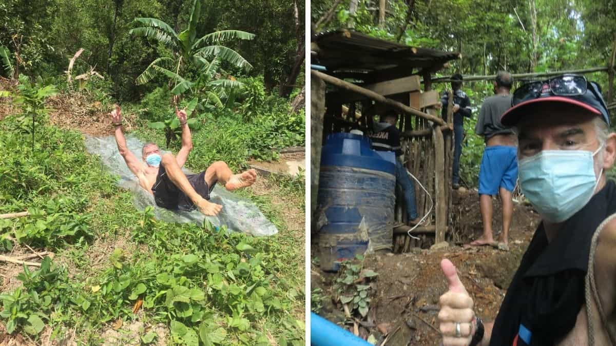 Water slide, water work, water help for Filipinos