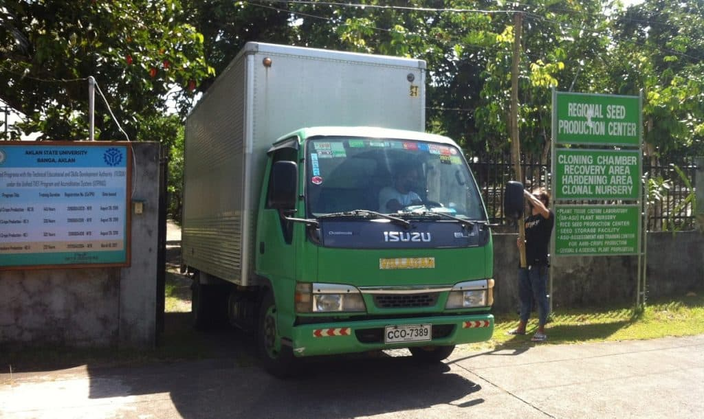 The rental truck used by Earth Vagabonds to bring young fruit trees from Banga, Aklan, to Malay, Aklan, for the indigenous Ati tribe.
