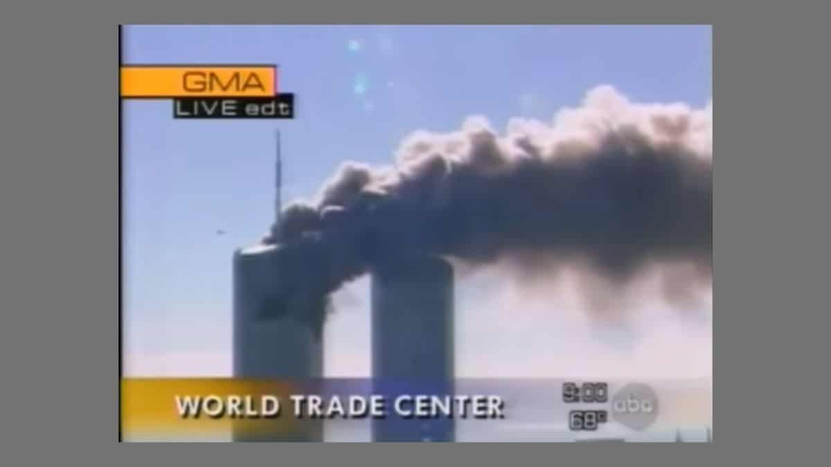 Image from ABC News of the North Tower burning at the World Trade Center on 9/11, 2001.